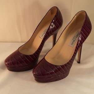 Jimmy Choo purple crocodile print platform heels